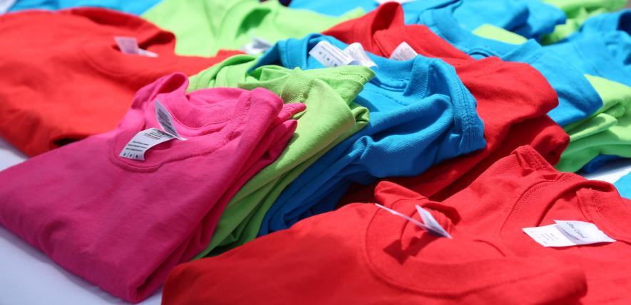 Assortment of t-shirts in color